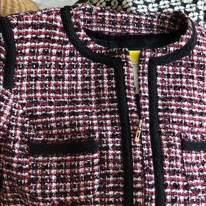 Mango Red with Black Trim Zip Up Crop Tweed Jacket